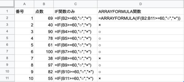 ARRAYFORMULA関数 数式表示