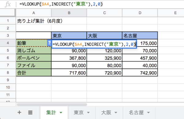 INDIRECT関数 使い方 具体例